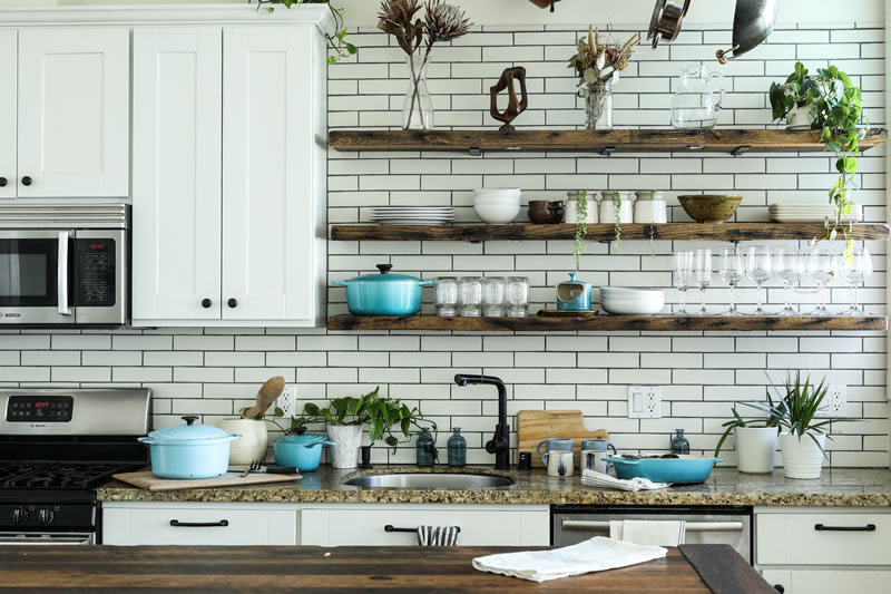 Organized kitchen with greenery